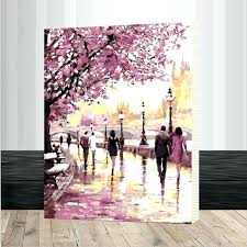 cherry blossom painting framed cherry blossoms road oil painting by numbers kits wall art picture home cherry blossom painting