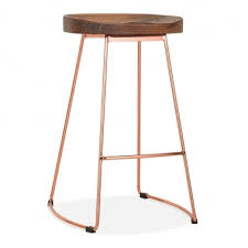 rose gold bar stools. Victoria Metal Bar Stool, Solid Elm Wood, Copper 75cm Rose Gold Stools O