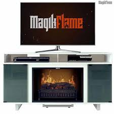 thetis iii lite white media center electric fireplace wall mantel tv stand w realistic fireplace insert
