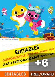 Design And Print Invitations Online Free 6 Free Baby Shark Pinkfong Birthday Invitations For Edit