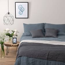bluish grey washed linen bedding collection graffiti