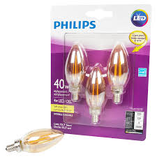 philips led 40w canbase chandelier bulb soft white amber glass 3 pack