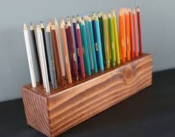 Wooden 50 Pencil Stand -- gorgeous handmade colored pencil stand from Etsy!