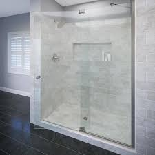 basco cantour 54 0215 in to 60 in w frameless brushed nickel pivot shower door