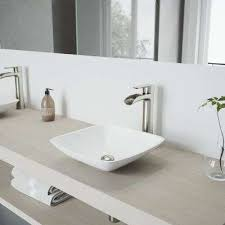 hyacinth matte stone vessel sink in white with niko vessel faucet in brushed nickel