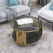 golden modern round coffee table for