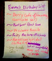 The Twenty Ninth Emmas Birthday List