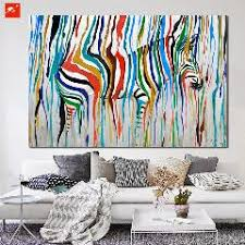 >abstract colourful rainbow zebra animal wall art hand painted oil  abstract colourful rainbow zebra animal wall art hand painted oil painting big size home living room decoration