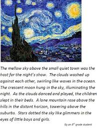 image writing enhancing student writing through visual learning sample student work vincent van gogh s starry night