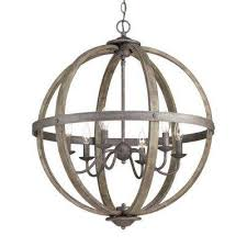 6 light artisan iron orb chandelier with elm wood accents
