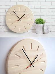 this light wood wall clock is simplistic in design and makes a perfect addition to a minimal interior