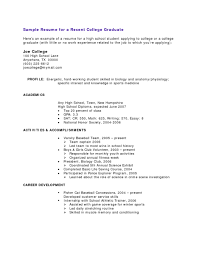 High School Example Resume College Grads How Your Resume Should