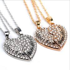 split heart mother and daughter letter pendant necklace 1