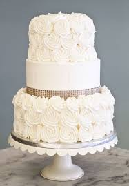 Simple Elegant A Simple Elegant Wedding Cake With Rosettes And Rhinestones Cake