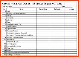 construction estimate sample construction estimate template sop format example