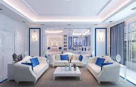 Elegant White And Blue Living Room Design Ideas