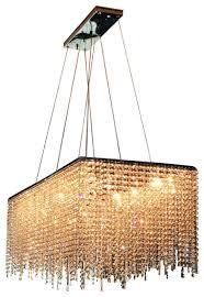 martha 10 light contemporary crystal chandelier rectangular shape