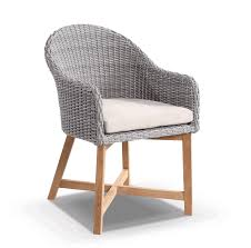 Coastal wicker dining chair w teak timber legs brushed grey