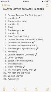 I looked online and apparently this is the correct order of watching all  the movies leading up to now. If this correct? (Ignore check marks, used to  keep track of which movies