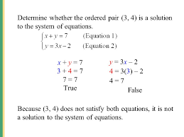 determine whether the ordered pair 3 4 is a solution to the system