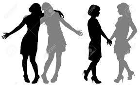 2 人の若い女性のシルエット