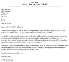 Unsuccessful Application Letter Template Follow Up Letter Example