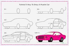 car drawing easy step by step.  Easy How To Draw A Muscle Car With Pictures Intended Drawing Easy Step By O