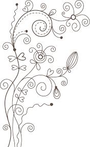 ポップでかわいい花のイラストフリー素材no1101白黒かわいい絵