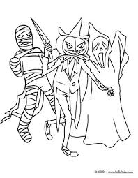 Small Picture Halloween Coloring Pages Online Scary Group Of 3 Monsters 01 Ez3