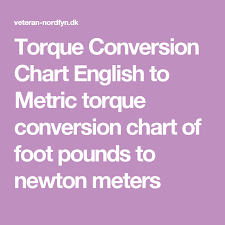 Foot Pounds To Newton Meters Chart Torque Conversion Chart English To Metric Torque Conversion