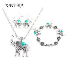 elephant pendant necklace 3 colors retro silver drop earring bracelet jewelry sets gold