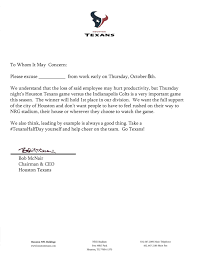 Houston Doctors Note Texans Excuse Note To Leave Work Early For Thursday Night