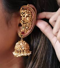 Ear Cuffs Indian Design Peacock Design Ear Cuff Jhumkas From Accessory Villa South