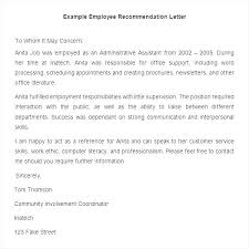 Writing A Recommendation Letter For An Employee Employment Recommendation Letter Template Reference For Job Sample