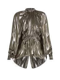 ellery echo bubble hem lamé blouse womens metallic silver clothing tops ellery fashion week ellery cateye sunglasses premier fashion designer