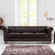 montrose 3 seater brown leather sofa