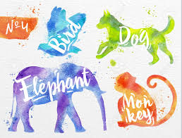 Drawingcolor Silhouettes Of Animal Bird Dog Monkey Elephant Drawing Color