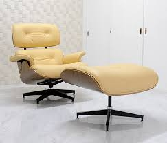 Eames Lounge Chair and Ottoman set  color/beige  finest total leather  sitting comfortable