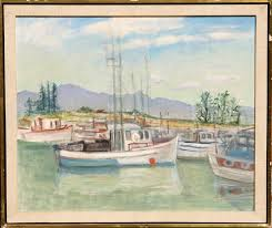 Adela Smith Lintelmann, Sailboats, Oil Painting