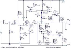 subwoofer circuit diagram the wiring diagram 100 watt sub woofer amplifier electronic circuits and diagram circuit diagram