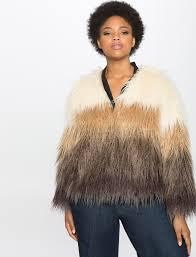 studio colorblock faux fur coat