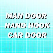 man hook hand hook car door. aqua grid man hook hand car door