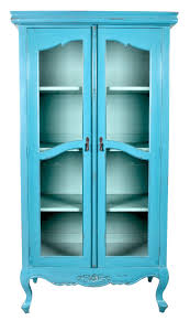 tall turquoise antique display cabinet with double glass doors and hoofed legs attractive display cabinets