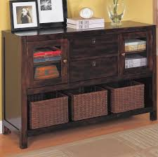 Furniture:Elegant Dark Wooden Cabinet Shelves Design With Brown Wicker  Storage Basket And Yellow Wall