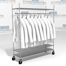 Lab Coat Rack 100 Wire Shelving Carts with Clothes Hangers Uniforms Lab Coats SMS 2