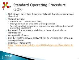 Ppt - Chemical Safety & Security Standard Operating Procedures ...