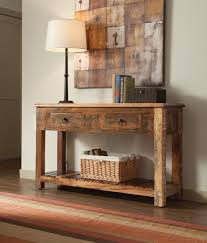 wooden console table. Console Table Reclaimed Wood Rustic With Drawers Matt And Jentry Home Design Sofa Storage Wooden P