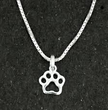 details about paw print pendant necklace sterling silver cat dog small 20 inch box chain