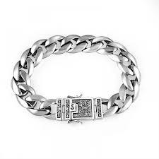 <b>Real 925 Silver</b> Men's Bracelet <b>12mm</b> Wide Smooth Flower Safe ...