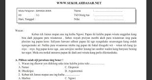Unknown june 1 2015 at 1 35 am. Soal Penilaian Harian K13 Kelas 5 Bahasa Jawa Tema 5 Sekolahdasar Net